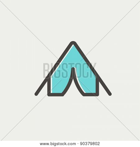 Tent icon thin line for web and mobile, modern minimalistic flat design. Vector icon with dark grey outline and offset colour on light grey background.