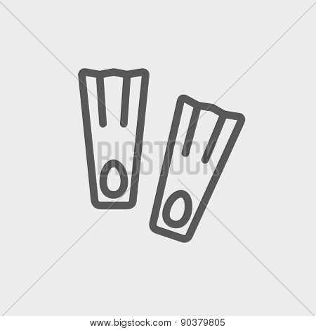 Swimming flippers icon thin line for web and mobile, modern minimalistic flat design. Vector dark grey icon on light grey background.
