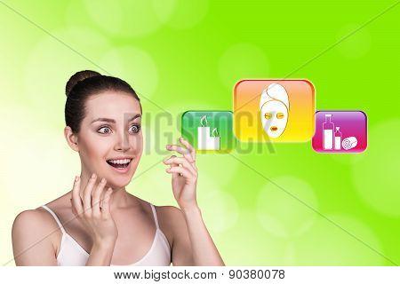 Woman in spa saloon