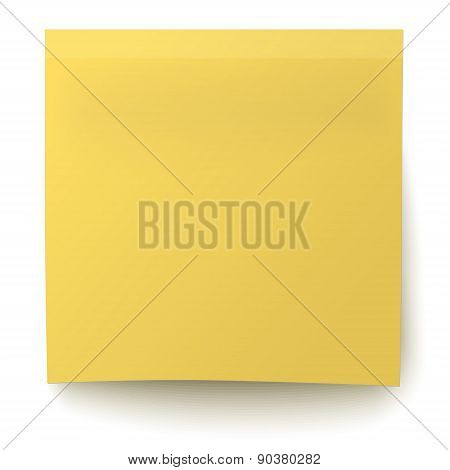 Classic Yellow Sticky Note Isolated On White Background
