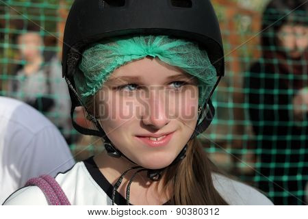 Teen In Helmet
