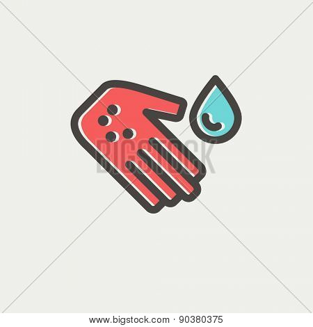 Wash wound with water icon thin line for web and mobile, modern minimalistic flat design. Vector icon with dark grey outline and offset colour on light grey background.