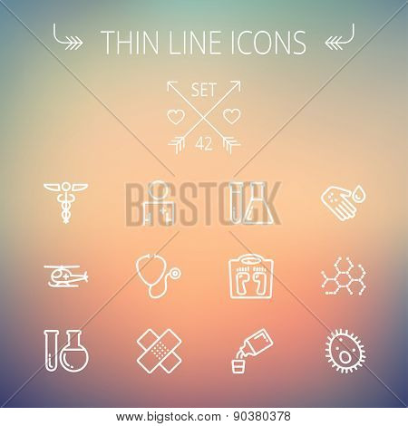 Medicine thin line icon set for web and mobile. Set includes- molecule, medicine, doctor, stethoscope, bandage, medical symbol, air ambulance icons. Modern minimalistic flat design. Vector white icon