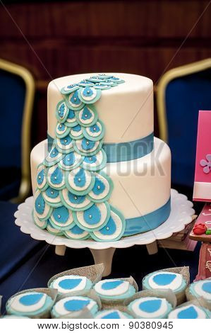 Two-tiered Wedding Cake With Blue Ribbons