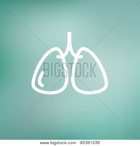 Lungs icon thin line for web and mobile, modern minimalistic flat design. Vector white icon on gradient mesh background.