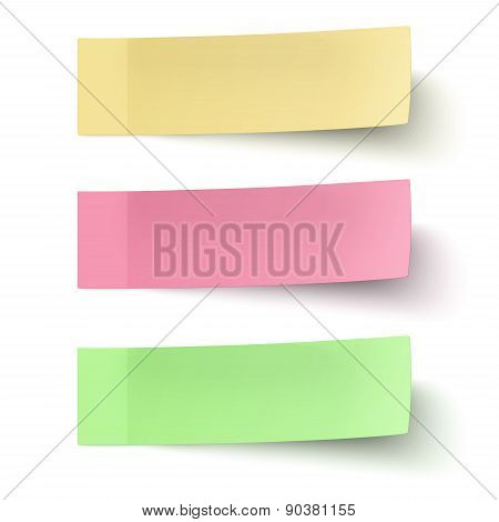 Yellow, Red And Green Sticky Notes Isolated On White Background