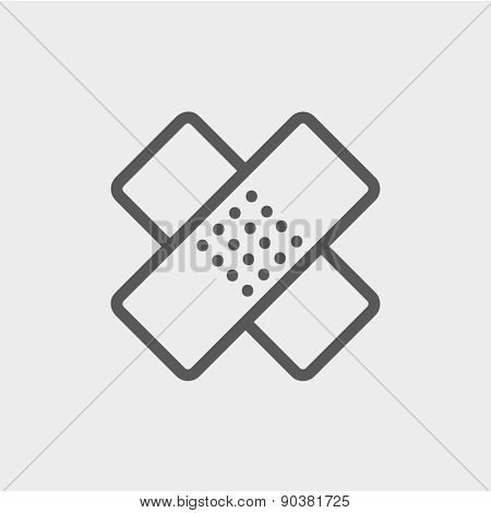 Adhesive bandage icon thin line for web and mobile, modern minimalistic flat design. Vector dark grey icon on light grey background.