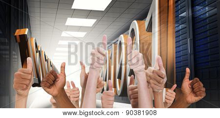 Hands showing thumbs up against 3d binary code in data center hallway