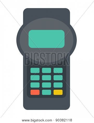 A credit card reader machine. A contemporary style. Vector flat design illustration with isolated white background. Vertical layout