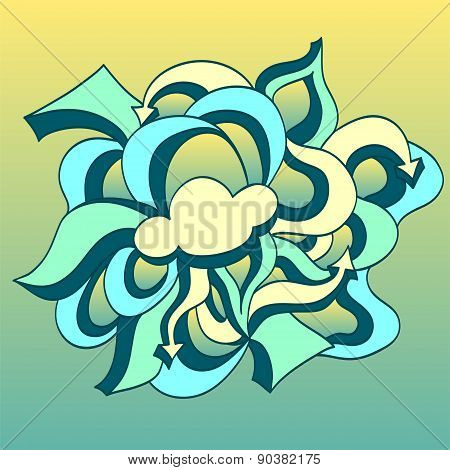 Doodle cloud with arrows on gradient background  in blue yellow