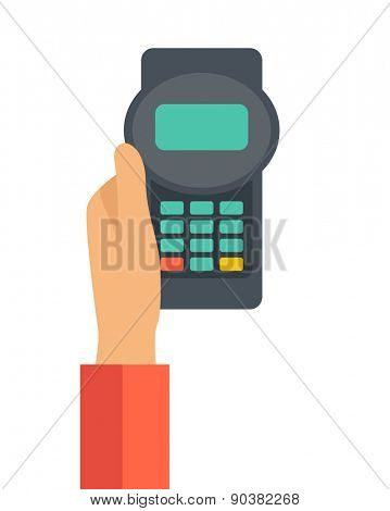 A hand holding the credit card machine. A contemporary style. Vector flat design illustration with isolated white background. Vertical layout