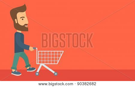 A handsome guy pushing an empty cart. A Contemporary style with pastel palette, soft orange tinted background. Vector flat design illustration. Horizontal layout with text space in right side.
