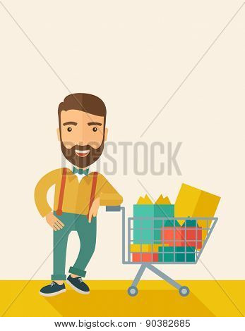 A happy man standing with his shopping cart. A Contemporary style with pastel palette, soft beige tinted background. Vector flat design illustrations. Vertical layout with text space on right top