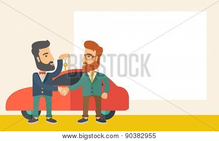 A Car sale handed to other man. A Contemporary style with pastel palette, soft beige tinted background. Vector flat design illustration. Horizontal layout with text space in right side.