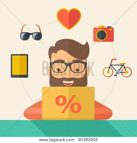 Man making a purchase using laptop with internet in online shopping with promo discount. A Contemporary style with pastel palette, soft beige tinted background. Vector flat design illustration. Square