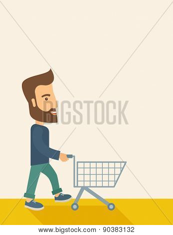 A handsome guy pushing an empty cart. A Contemporary style with pastel palette, soft beige tinted background. Vector flat design illustration. Vertical layout with text space in right side.