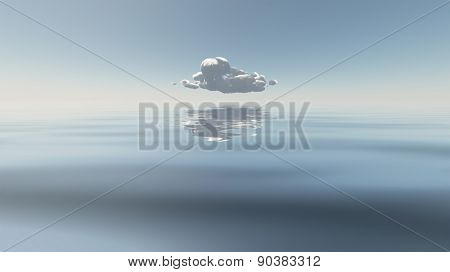 Single Cloud Floats Above Still Water