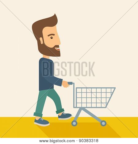 A handsome guy pushing an empty cart. A Contemporary style with pastel palette, soft beige tinted background. Vector flat design illustration. Square layout with text space on top right part.