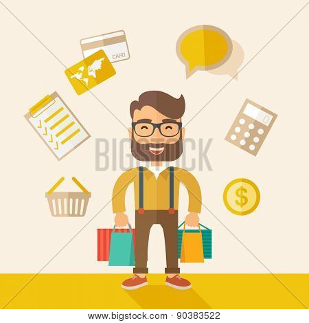 A funny businessman with shopping bags and checklist, calculator, basket, credit card and money around. A Contemporary style with pastel palette, soft beige tinted background. Vector flat design