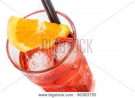 Top Of View Of Spritz Aperitif Aperol Cocktail With Orange Slices And Ice Cubes Isolated On White