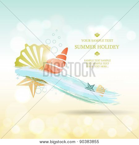 Summer background. Abstract wave with sea shells and stars