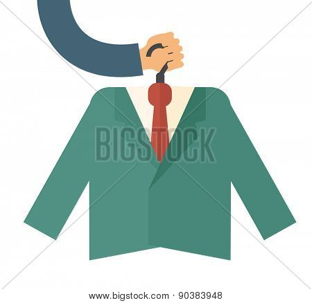 A premium suit with tie. A contemporary style. Vector flat design illustration with isolated white background. square layout
