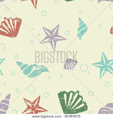 Abstract seamless retro pattern with shells and starfish