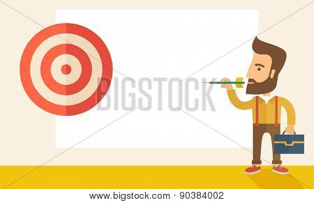 A working hipster man with strategy on how to get his target market sales higher. Market strategy concept. A Contemporary style with pastel palette, soft beige tinted background. Vector flat design