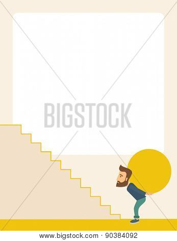 A businessman sacrifice in carrying a big ball going up to reach the goal. A Contemporary style with pastel palette, soft beige tinted background. Vector flat design illustration. Vertical layout with