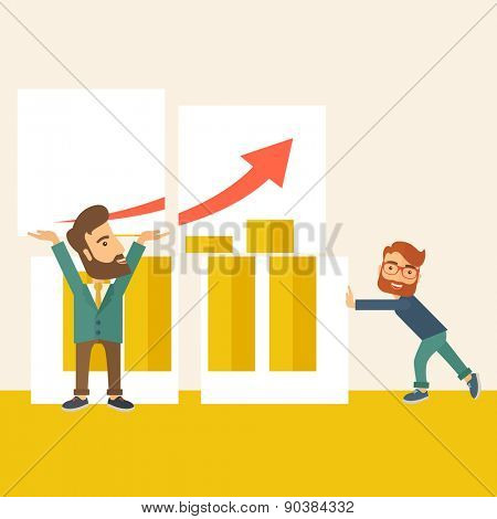 Two happy businessman are both successful in business that shows in the graph. Business growth concept. A Contemporary style with pastel palette, soft beige tinted background. Vector flat design