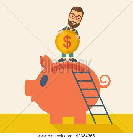 A young man saving his money by putting a coin in big piggy bank using a ladder. Saving concept. A Contemporary style with pastel palette, soft beige tinted background. Vector flat design illustration