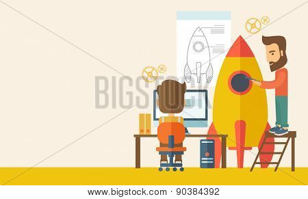 Two man to launch for new start up idea in business. Business concept. . A Contemporary style with pastel palette, soft beige tinted background. Vector flat design illustration. Horizontal layout with
