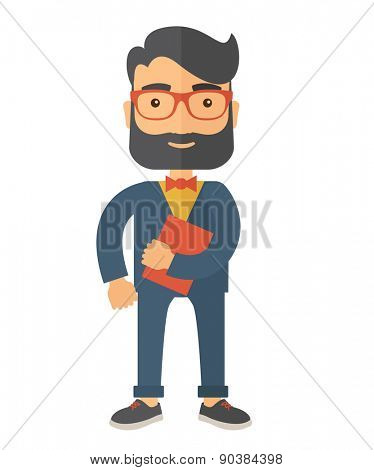 A Caucasian office clerk standing holding a book under his arm. A contemporary style. Vector flat design illustration with isolated white background. Vertical layout.