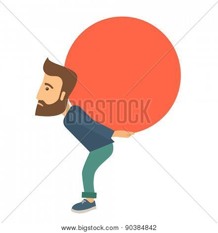 A buisnessman sacrifice in carrying a big ball going up to reach the goal concept. . A Contemporary style. Vector flat design illustration isolated white background. Square layout.