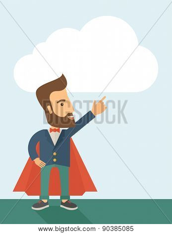 Superhero man pointing upward aiming higher sales in business. Business growth. A Contemporary style with pastel palette, soft blue tinted background. Vector flat design illustration. Vertical layout