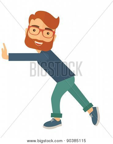 A man is pushed to start a new business. Business strategy concept. A contemporary style. Vector flat design illustration with isolated white background. Vertical layout.