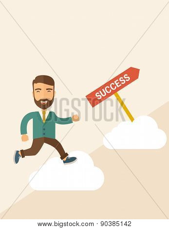 A happy hipster businessman smiling while jumping for his succeess. Business growth concept. A Contemporary style with pastel palette, soft beige tinted background. Vector flat design illustration
