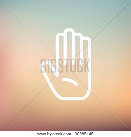 Hand icon thin line for web and mobile, modern minimalistic flat design. Vector white icon on gradient mesh background.
