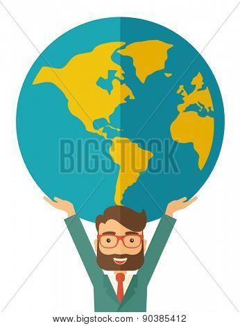 A businessman carrying big globe it is a symbol that he is number one in the world in business society. A Contemporary style. Vector flat design illustration isolated white background. Vertical layout