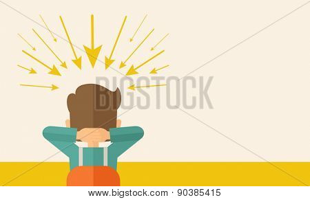 Young worried businessman thinking about business with negative trend. Business failure concept. A Contemporary style with pastel palette, soft beige tinted background. Vector flat design illustration