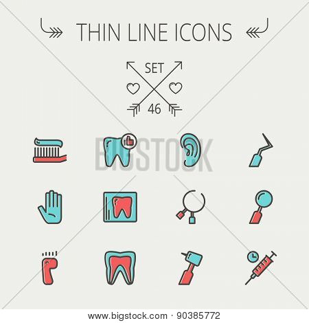 Medicine thin line icon set for web and mobile. Set include- tooth, toothbrush, dental tools, foot, hand, syringe icons. Modern minimalistic flat design. Vector icon with dark grey outline and offset