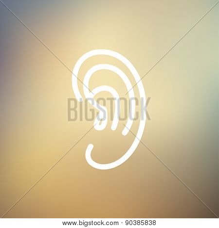 Human ear icon thin line for web and mobile, modern minimalistic flat design. Vector white icon on gradient mesh background.