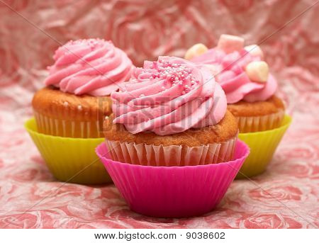 Vanilla Cupcakes With Strawberry Icing