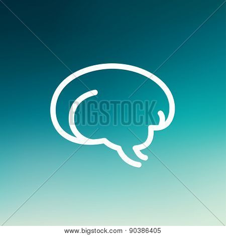 Human brain icon thin line for web and mobile, modern minimalistic flat design. Vector white icon on gradient mesh background.