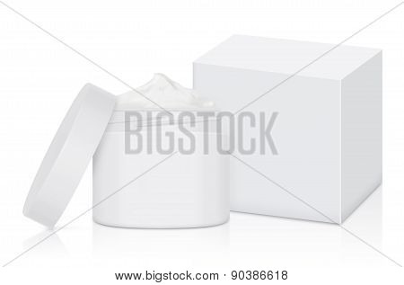 White cream jar and box