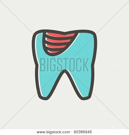 Tooth decay icon thin line for web and mobile, modern minimalistic flat design. Vector icon with dark grey outline and offset colour on light grey background.