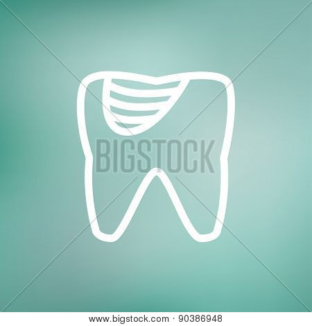 Tooth decay icon thin line for web and mobile, modern minimalistic flat design. Vector white icon on gradient mesh background.