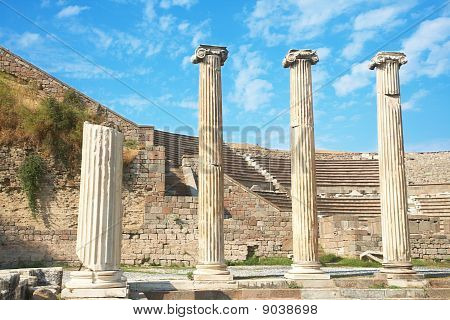 Ruins Of Columns In Asklepion In Ancient City Of Bergama