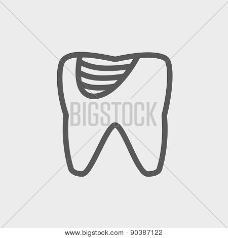 Tooth decay icon thin line for web and mobile, modern minimalistic flat design. Vector dark grey icon on light grey background.