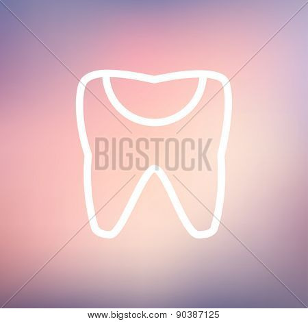 Broken tooth icon thin line for web and mobile, modern minimalistic flat design. Vector white icon on gradient mesh background.